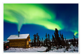 Premium poster Northern Lights over a hut