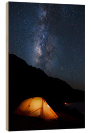 Wood print  Tent and starry sky - MakenaStockMedia