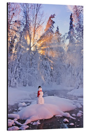 Aluminium print  Snowman on a wintry creek - Kevin Smith