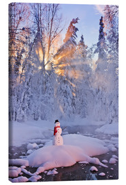 Canvas print  Snowman on a wintry creek - Kevin Smith