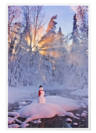 Premium poster Snowman on a wintry creek