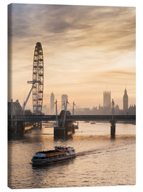 Canvas  Millenium Wheel with Big Ben, London, England - Charles Bowman