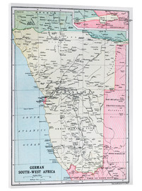 Acrylic print  Map Of German South-West Africa  - Ken Welsh