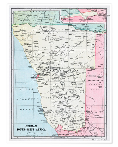 Premium poster Map Of German South-West Africa