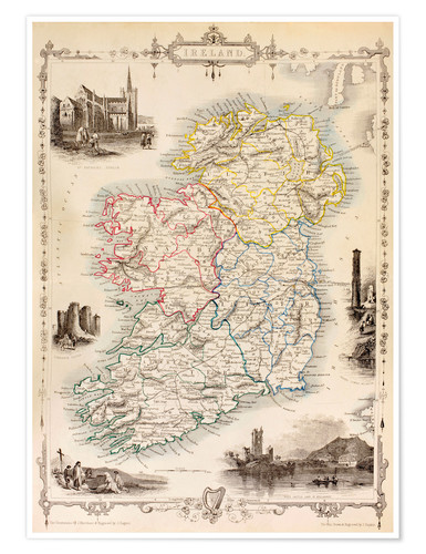 Premium poster Map Of Ireland by Thomas Wright (18th century)