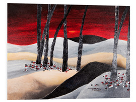 Foam board print  dramatic landscape with red sky - Tara Thelen