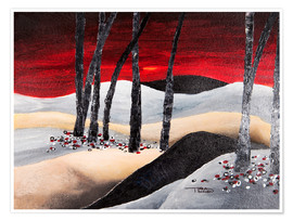 Premium poster dramatic landscape with red sky