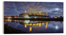 Wood print  Bremen stadium in the moonlight - Tanja Arnold Photography
