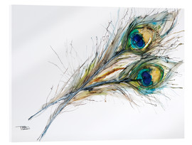 Acrylic print  Watercolor of two peacock feathers - Tara Thelen