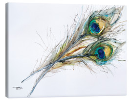 Canvas print  Watercolor of two peacock feathers - Tara Thelen