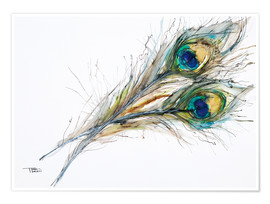 Premium poster  Watercolor of two peacock feathers - Tara Thelen