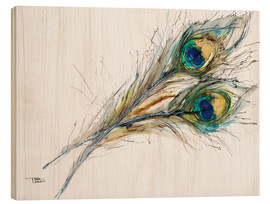 Wood print  Two peacock feathers - Tara Thelen