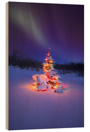 Wood print  Christmas tree and Northern Lights - Carson Ganci