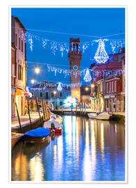 Poster Canal in Murano at Christmas, Venice