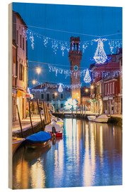 Wood print  Canal in Murano at Christmas, Venice - Matteo Colombo