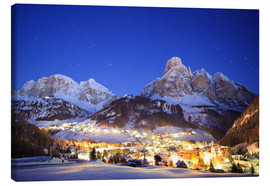 Canvas  Corvara in Badia at night under mountain peak (Sassongher), Sudtirol, Italy - Matteo Colombo
