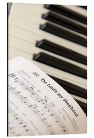 Aluminium print  Sheet music on piano keyboard - John Short