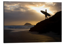 Aluminium print  Surfer on Muriwai Beach - Deddeda