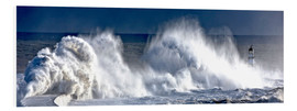 Foam board print  Waves crashing on lighthouse - John Short