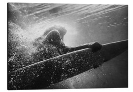 Aluminium print  Woman on surfboard underwater - Ben Welsh