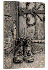 Wood print  Worn boots before a door - John Short