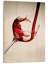 Wood print  Red wine in a glass - Richard Desmarais