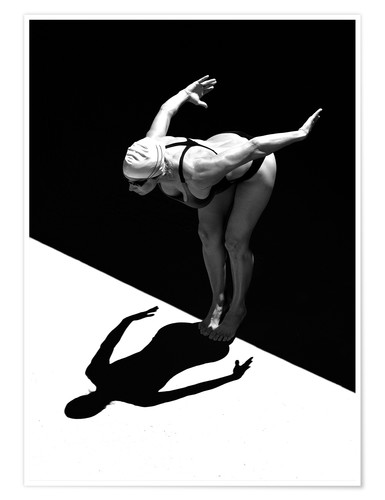 Premium poster A woman jumps into the water I