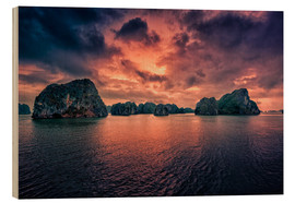 Wood print  Sunrise over Halong Bay - Stefan Becker