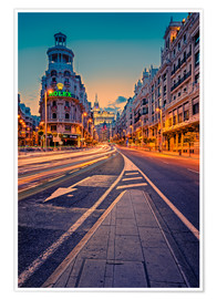 Premium poster  Gran Via at night - Stefan Becker