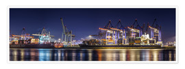Premium poster Hamburg harbor panorama at night