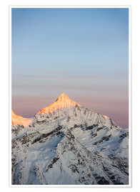 Premium poster Weisshorn mountain peak at dawn. View from Gornergrat, Zermatt, Switzerland.