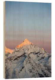 Wood print  Weisshorn mountain peak at dawn. View from Gornergrat, Zermatt, Switzerland. - Peter Wey