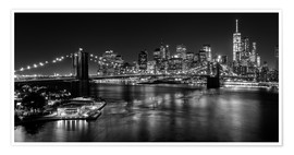 Premium poster New York City by Night (monochrome)