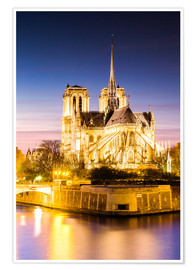 Premium poster Notre Dame, illuminated at dusk, Paris
