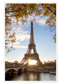 Premium poster  Jena bridge and Eiffel tower in autumn, Paris, France - Matteo Colombo