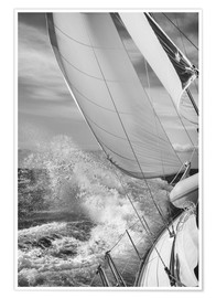 Premium poster  Sailing black / white - Jan Schuler
