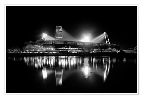 Premium poster Weserstadion, Bremen in black and white