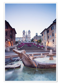 Premium poster Famous Spanish Steps and Bernini fountain, Rome, Italy