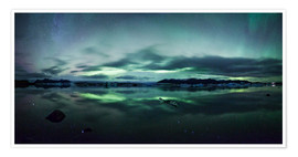 Premium poster  Northern Lights Panorama Jokulsarlon - Matteo Colombo