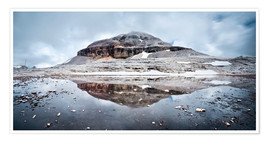 Premium poster  Panoramic of Lagazuoi mountain peak in the Sella group reflected in lake, Dolomites, Italy - Matteo Colombo