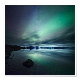 Premium poster Northern Lights over Jokulsarlon