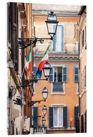 Acrylic print  Street in the centre of old town with italian flags, Rome, Italy - Matteo Colombo