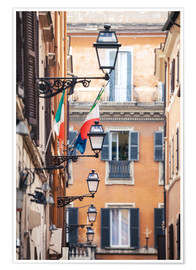 Premium poster  Street in the centre of old town with italian flags, Rome, Italy - Matteo Colombo