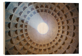 Wood print  Ceiling of the Pantheon temple, Rome - Matteo Colombo
