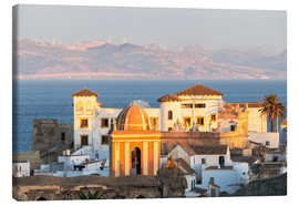 Canvas print  Strait of Gibraltar and town of Tarifa at sunset, Andalusia, Spain - Matteo Colombo