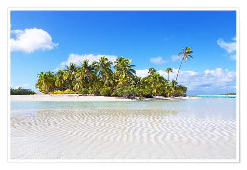 Premium poster Tropical beach with palm trees, One Foot Island, Aitutaki, Cook Islands