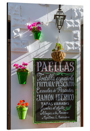Aluminium print  Typical whitewashed ornate wall and paella sign, Andalusia Spain - Matteo Colombo