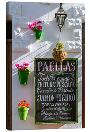 Canvas  Typical whitewashed ornate wall and paella sign, Andalusia Spain - Matteo Colombo
