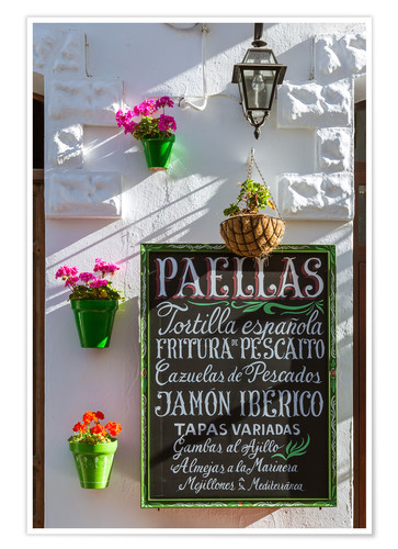 Premium poster Typical whitewashed ornate wall and paella sign, Andalusia Spain