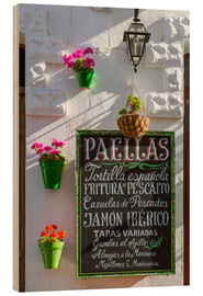 Wood print  Typical whitewashed ornate wall and paella sign, Andalusia Spain - Matteo Colombo